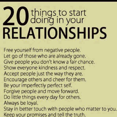 For good relationship